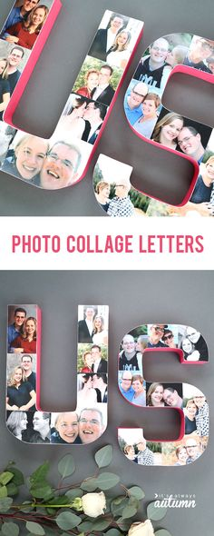Love these pretty photo letters! Glue favorite photos on paper mache letters to spell a word. Great Valentine's Day or anniversary gift idea. Easy Crafts To Sell, Christmas Crafts To Sell, Dyi Crafts, Homemade Crafts, Mason Jar Crafts, Mason Jar Diy, Ikea Craft Room, Paper Mache Letters, Budget Crafts
