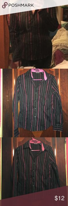 Striped dress shirt Different shades of pink and white pin stripe dress shirt. New York & Company Tops Button Down Shirts