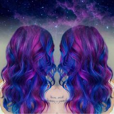 Have you seen galaxy hair yet? This vibrant hair color is made up of different. Pretty Hair Color, Beautiful Hair Color, Hair Color Purple, Pink Purple, Blue Green, Bright Hair Colors, Hair Dye Colors, Galaxy Hair Color, Coloured Hair