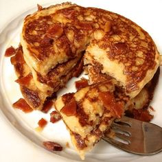 Light, fluffy pancakes get a sweet and salty makeover with smoky bacon and pure maple syrup.