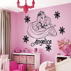 Custom Name Cartoon Princess Vinyl Wall Art Sticker Girl's Bedroom Decal Kids Nursery Room Art Decor Wall Paper S-38