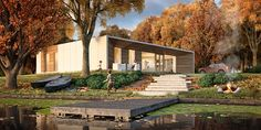 Piktoforma made great use of Forest Pack's scattering features to create Prefab Passive House Passive House, 3d Max, Prefab Homes, House Design, Patio, Mansions, Architecture, House Styles, Gallery