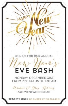 Golden Happy New Year Invitation Holiday Party Invitations, Throw A Party, Address Labels, Holiday Parties, Happy New Year, Party Planning, Seasons, Wallpaper, Seasons Of The Year