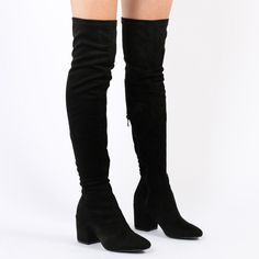 Anita Long Boots in Black Faux Suede