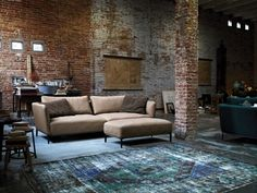 Rustic Living Room Design Exposed Brick Wall Cream Rolf Benz Sofa As Beauteous Veengle Style And Design