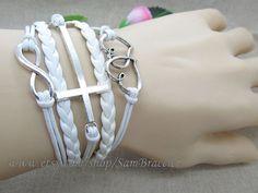 White Silvery Leather Bracelet  LOVE & Cross  All by HandmadeTribe, $6.50
