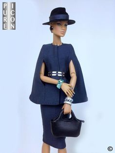 DARK GREY OUTFIT WITH BELT & HAT MADE FOR FASHION ROYALTY DOLLS
