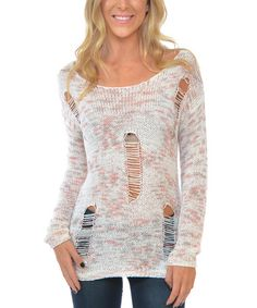 Another great find on #zulily! Heather Gray & Ivory Variegated Shred Sweater #zulilyfinds