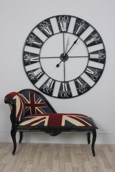 Union Jack Black Frame Small Chaise Lounge and large wall clock My New Room, My Room, British Themed Rooms, British Style, French Style, Fainting Couch, Union Jack, Union Flags, British Things
