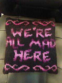 Alice in Wonderland knit pillow.