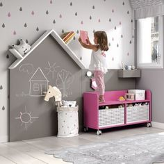 Take a look at this remarkable girls room diy - what a creative design and development Kids Bedroom Designs, Kids Room Design, Chalkboard Wall Kids, Baby Room Decor, Girl Room, Slate, Corner Headboard, Books, Nursery Decals