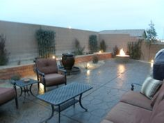 cement, gravel border, raised garden bed & fire pit... Outside Plants, Small Backyards, Raised Garden Beds, Photo Library, Beautiful Space, Backyard Ideas, Cement, Sweet Home, Deck