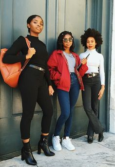 In looks covering every major trend, from monochrome to sporty, these stylish crews shut it down on campus. Dope Fashion, Black Women Fashion, Girl Fashion, Fashion Outfits, London College Of Fashion, Street Outfit, Black Girls, In This World, Style Me