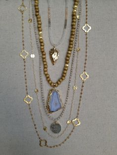 The Brazos- Wooden Bead Necklace with Agate Pendant, www.etsy.com/shop/txgoldengirl