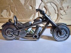 Items similar to Unique Metal Art Motorcycle Bike Harley Sculpture - Metal recuperation Welding - Never two identical ! Home decoration collectible on Etsy Welding Art Projects, Metal Art Projects, Metal Crafts, Metal Sculpture Artists, Steel Sculpture, Metal Tree Wall Art, Scrap Metal Art, Motorcycle Art, Bike Art
