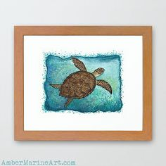 Framed Giclée Art Print • Hawksbill Sea Turtle watercolor painting by wildlife artist Amber Marine, endangered species series. ••• AmberMarineArt.com © •••