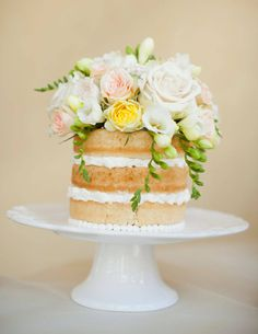 mini naked cake for you and ty to cut. cupcakes for the rest of the crew? Bolos Naked Cake, Naked Cakes, Pretty Cakes, Beautiful Cakes, Amazing Cakes, Beautiful Flowers, House Beautiful, Cupcakes, Cupcake Cakes