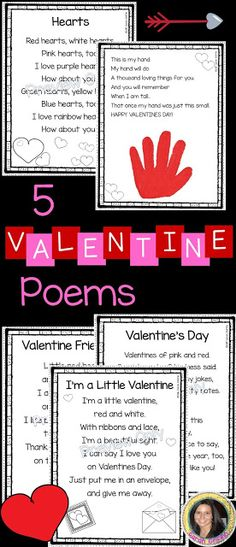 printable valentines day poems for kids includes valentines handprint poem, hearts, I'm a little valentine, Valentine friendship, and my valentine Funny Valentine, Valentines Day Poems, Valentine Theme, Little Valentine, Printable Valentine, Valentine Cards, Free Printable, Valentine Crafts For Kids, Valentines Day Activities
