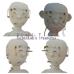WIP Crochet Amigurumi Dolly by Rebeckah's Treasures ~ Face Mapping