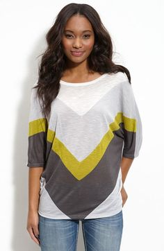 Chloe K Colorblock Chevron Tee (Juniors) at Nordstrom.com. Tonal neutrals with a pop of color accent the front of a cool, slouchy, textured tee with three-quarter dolman sleeves.