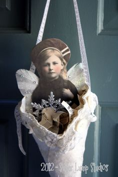 Miss Christmas Morning HANDMADE Fabric Cone/Tussie Mussie.