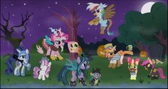 Ponies dressed as their enemies. Love how Sweetie Belle is Diamond Tiara! X) And pinky like discord!Also love Twilight is Queen Chrysalis and how Fluttershy is a tree. wow trees r the real enemies here. My Little Pony Costume, My Little Pony List, My Little Pony Friendship, Nightmare Night, Nightmare Moon, Queen Chrysalis, Sweetie Belle, Little Poni, Mlp Fan Art