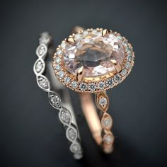 One 14kt. pink gold ring (1.80 DWT) with natural morganite oval center stone weighing 2.20 carats (8.75 x 6.67MM). In the halo you have 24 round brilliant 1mm diamonds weighing .12 carats and their fine white SI1 quality. Set in the band you have 8 - 1.2mm round brilliant diamonds weighing .07 carats and their fine white SI1 quality. The shadow band has 12 round brilliants (1.2mm) weighing .10 carats of fine white and SI1 quality. You can mix your metals here or order in the same colors…