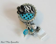 Turquoise Dots N' Zebras Retractable Badge Reel. , via Etsy.