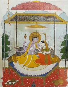 Vishnu with Lakshmi ca 1800 Kangra, India. the Bhuri Singh Museum Chamba.