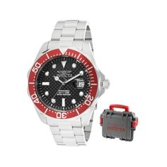 Invicta Mens 12565 Pro Diver Black Carbon Fiber Dial Stainless Steel Watch with GreyRed Impact Case -- Want to know more, click on the image. This Amazon pins is an affiliate link to Amazon.