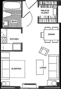Small studio apartment floor plans studio apartment for Small one bedroom apartment floor plans