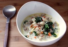 White Bean Kale Soup - maybe sub turkey sausage for the pork and light cream or milk for the heavy cream to knock down the fat content.