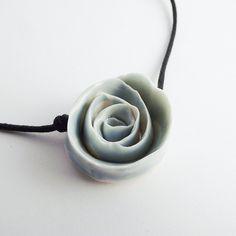 Sky Blue Porcelain Rose for a sweet spring Necklace by lofficina.  via Etsy.