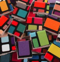 Ceramic Mosaic Tiles  Bright Colorful Blocks by WhereGypsiesRoam