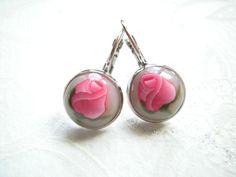 """BO dormeuses """" Bouton de rose """" : Boucles d'oreille par patfimo"""