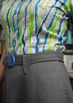 Belt details on 40s gray wool skirt & feedsack blouse | by gum, by golly!