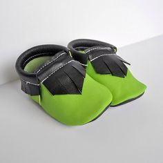 Green and black Leather Handmade Moccasins by NorthoftheRiverMoccs