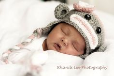Girl Crochet Sock Monkey Hat with Flower -Made to Order- Newborn-Adult- Gray, Pink, White. $25.00, via Etsy.