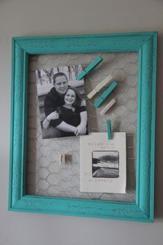 Rustic Turquoise Chicken Wire Display Board by sarahsmithwarrenND, $23.00
