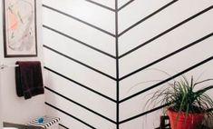 23 Clever DIY Christmas Decoration Ideas By Crafty Panda Tape Wall Art, Washi Tape Wall, Tape Art, Washi Tape Headboard, Black Bedroom Design, Herringbone Wall, Diy Storage Shelves, Diy Furniture Couch, Black Headboard