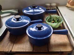 Vintage Le Creuset Saucepans 1970's Blue great style Fabulous Condition. Compleat set of 3