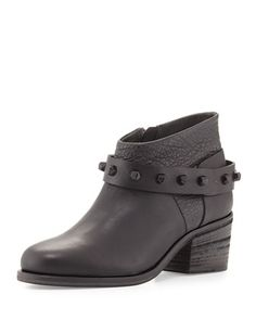 Studded Chunky-Heel Ankle Boot, Black (Nero) by Henry Beguelin at Neiman Marcus.