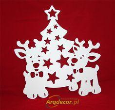 Pracownia Dekoracji ARQ - DECOR - Renifery + Choinka 49 cm! dekoracja świąteczna witryny sklepu, pcv (NA ZAMÓWIENIE)