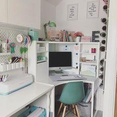 BRUSALI, Corner desk, white, You can customise your storage as needed, since the shelves are adjustable. Home Room Design, Home Office Design, Home Office Decor, Study Room Design, Desk Office, Ikea Corner Desk, White Corner Desk, Desk Inspiration, Desk Inspo