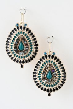 LOVE these colours together! Amara Crystal Earrings on Emma Stine Limited