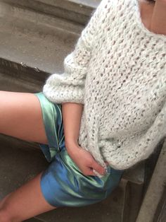 Mint silver loose knitted Kiro by Kim sweater