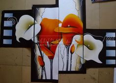 Handmade huge size customized Modern Group calla lily canvas painting