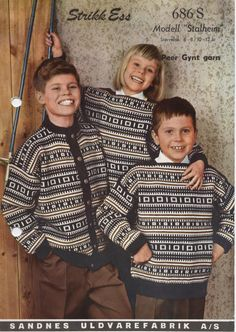 Norwegian Knitting, Old Magazines, Vintage Knitting, Color Combinations, Norway, Knitting Patterns, Textiles, Jumpers, Boss