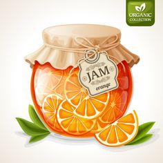 Natural organic orange citrus jam in glass jar with tag and paper cover vector illustration
