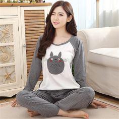 Musim gugur dan Musim Semi Katun Piyama Wanita Totoro Piyama Set Kartun Pakaian Tidur untuk wanita perempuan gadis